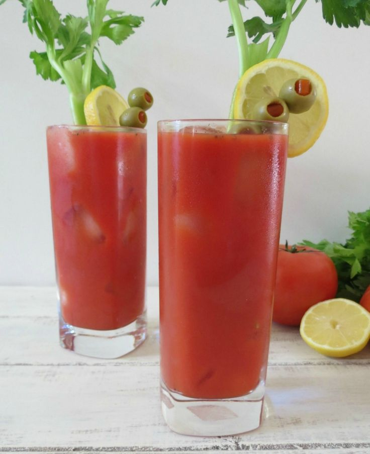 Virgin Bloody Mary - A non-alcoholic version of the Bloody Mary that is slightly spicy and tangy.  Only 61 calories a cup!