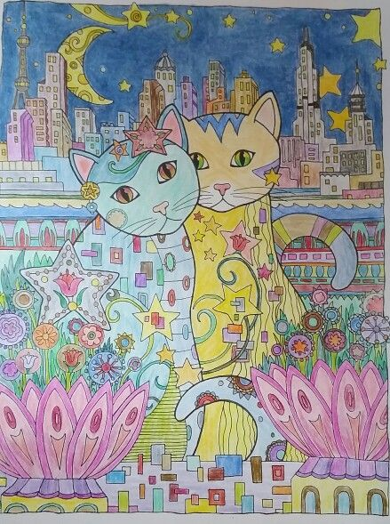 creative cats colored with raffine color pencils