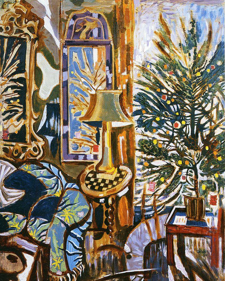 Christmas Card - The Christmas Tree, 1960. ATHENS – BENAKI MUSEUM – N. HADJIKYRIAKOS-GHIKA. THE CHRISTMAS TREE. 1960. PRIVATE COLLECTION. Text card: ΘΕΡΜΟΤΑΤΕΣ ΕΥΧΕΣ, WARMEST GREETINGS. Text card: blank