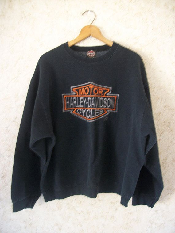c8743531 Vintage Harley Davidson Motorcycle Embroidered Large Logo Crewneck  Sweatshirt 90s Pullover Boho Grunge Biker Black Long Sleeve Retro Mens XL