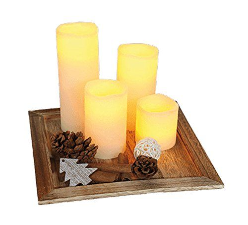 Weihnachtsdeko Led Kerzen.Christmas Set 4 Led Kerzen Holzteller Weihnachtsdeko Xmas Deko