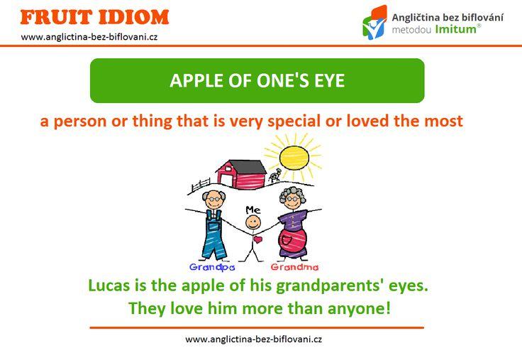 """Anglický idiom """"apple of one's eye"""" by se dal přirovnat k českému """"opatrovat jako oko v hlavě"""".  KDO/CO je vaším """"apple of one's eye""""?! ❤ #idioms"""