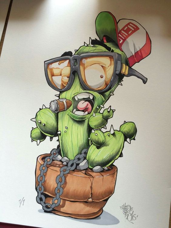 Unique-Sketches-Graffiti-Cactus-Character-2016-on-Paper.jpg (564×752)