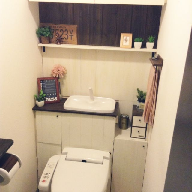 KORUN_designさんの、フェイクグリーン,100均,DIY,タイポグラフィ,バス/トイレ,のお部屋写真
