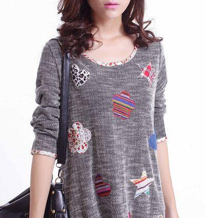 Women Long tshirt 2015 Autumn Sale XXXL Petal&Heart Print Patch Basic Knitted t shirt Women Striped brand Tee Shirt Femme Tops