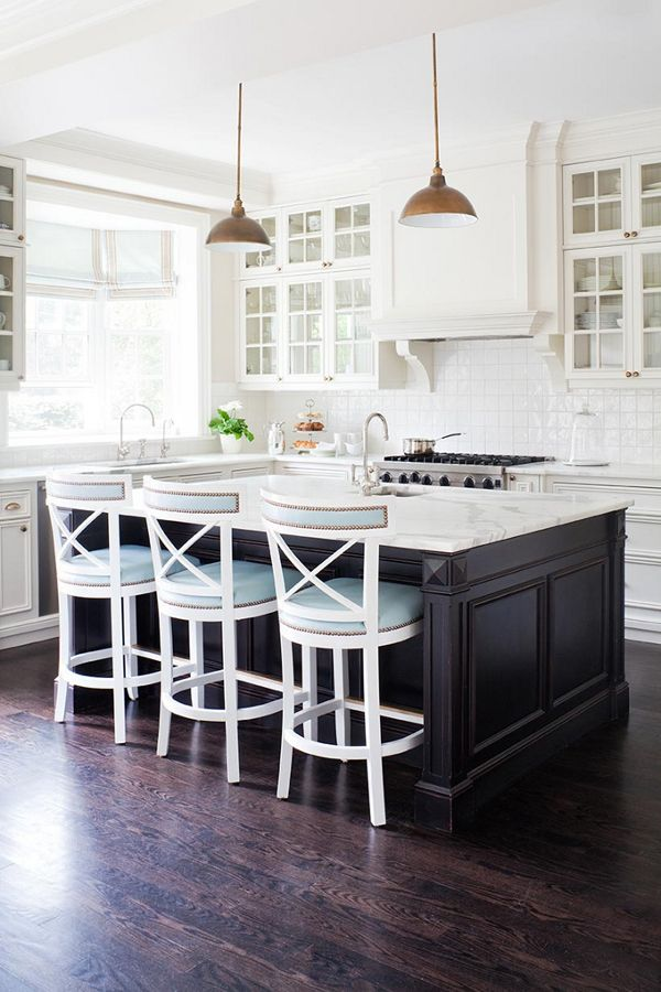 White Kitchen With Dark Floors. Love The Touch Of Duck Egg Blue.