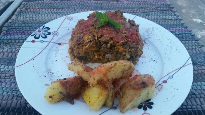 Lentil roaf with vegetables and roasted potatoes..!!