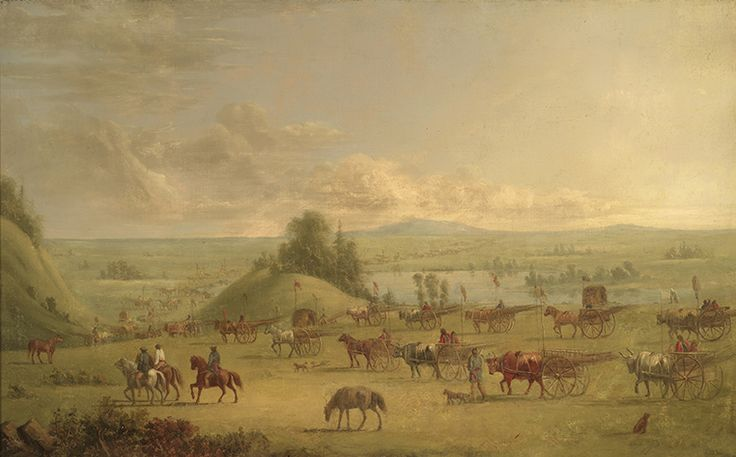 """Kane made copious detailed and accomplished renderings of Aboriginal peoples and their thriving and vital culture. """"Half Breeds Travelling,"""" Plains Metis, c. 1849–56, Royal Ontario Museum."""