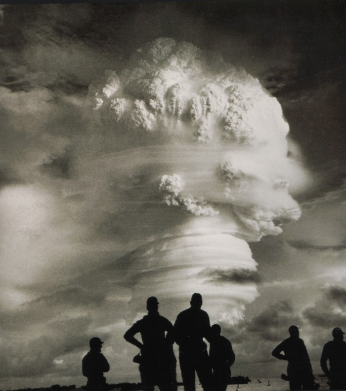 """New Mexico Trinity explosion...Oppenheimer quoted from the Vedic text, the Bhagavad Gita: """"If the radiance of a thousand suns were to burst forth at once in the sky, that would be like the splendor of the Mighty One. I am become Death, the destroyer of worlds."""""""
