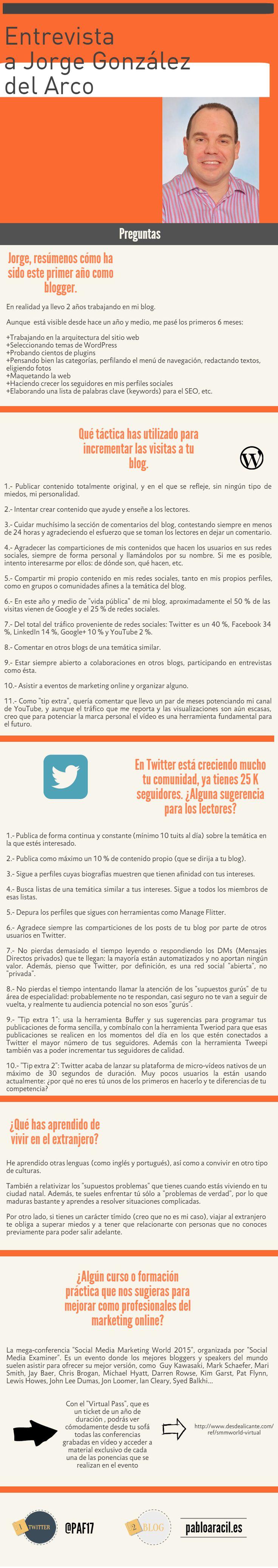 #Infografia sobre la entrevista a Jorge González del Arco, blogger, consultor y formador en Redes Sociales y #MarketingOnline.
