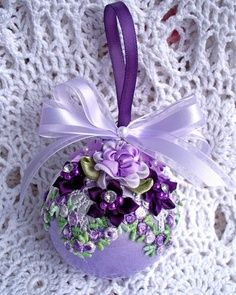 Victorian Christmas Ornament Lavender Purple Roses Pearls Venise Lace Ball