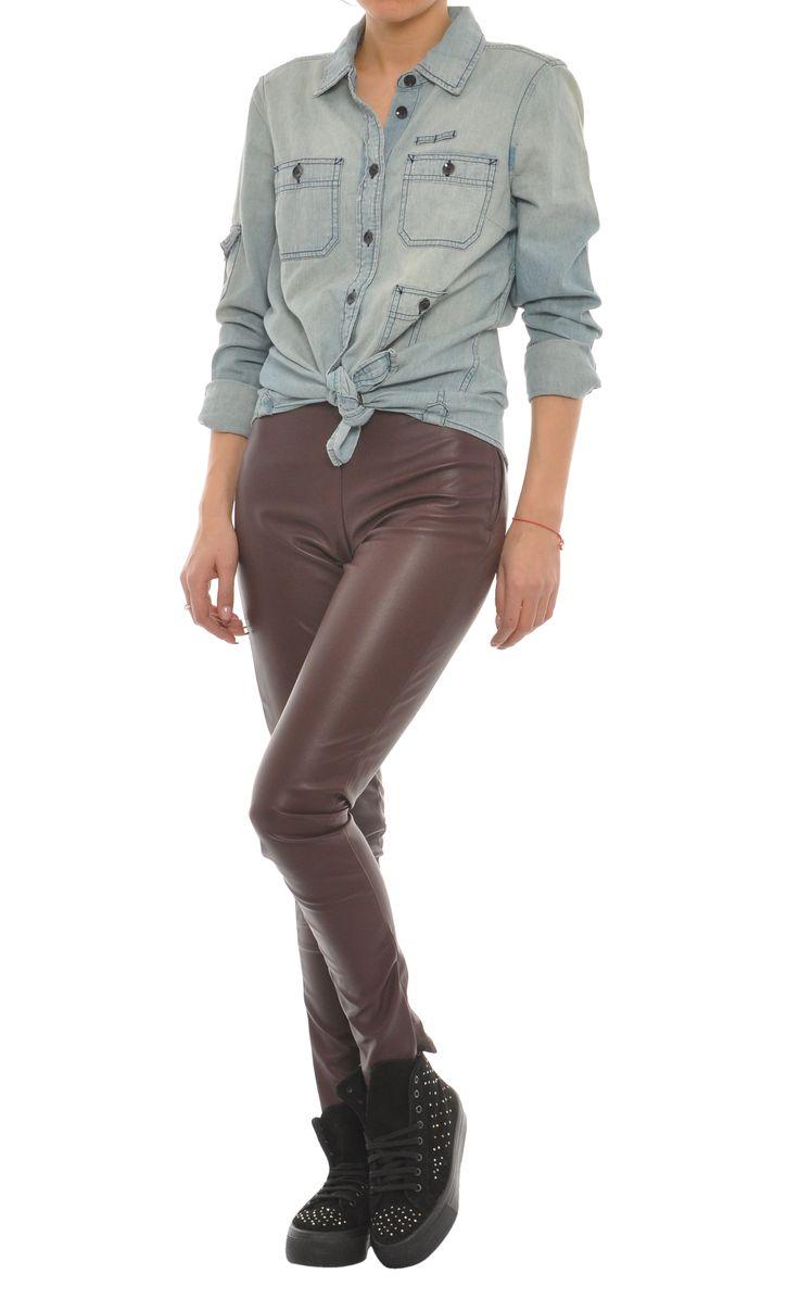 Pantaloni din imitatie de piele casual - Dama - 49 Lei. | Miniprix.ro