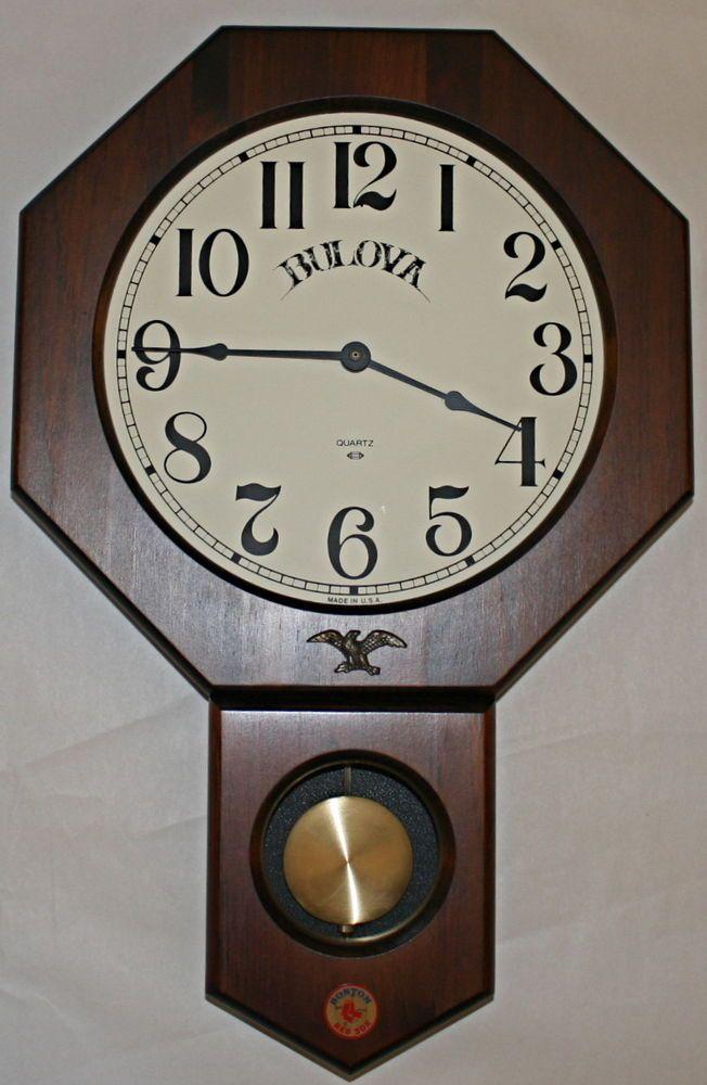 Bulova Wood Pendulum Wall Clock Made In Usa Boston Red Sox Bobby Doerr Mlb Hof How To Make Wall Clock Pendulum Wall Clock Wall Clock