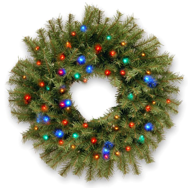 Pre-Lit Wreath with 50 Battery-Operated Lights