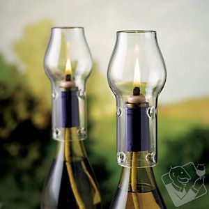 Bottle Oil Lamp Kit...turn old bottles into oils lamps and I love the flame protectors so the wind doesn't blow them out