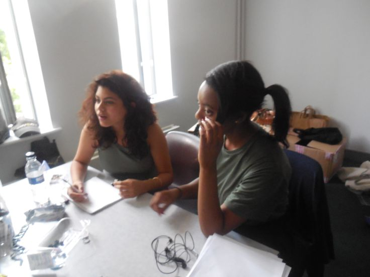 Young Producers team - Celia and Aminat Assistants to the Costume Designer are learning how to take notes for each character's costume. It is an important step in the process as it defines all the right costumes and accessory for each actor.