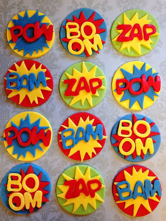12 Edible Fondant Pow Zap Boom Comic Book Style Cupcake Toppers - Super Hero - Birthday