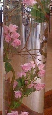 submerged curly willow and spray roses