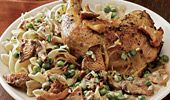 Roast Chicken with Chanterelles and Peas