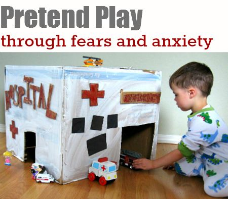 Kids work through anxiety through play. Help ease hospital and doctor visit anxiety by making and playing with your own box hospital.