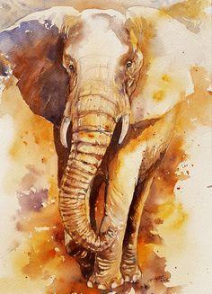 Elephant Art Original Watercolor painting Wall Decor by artiart