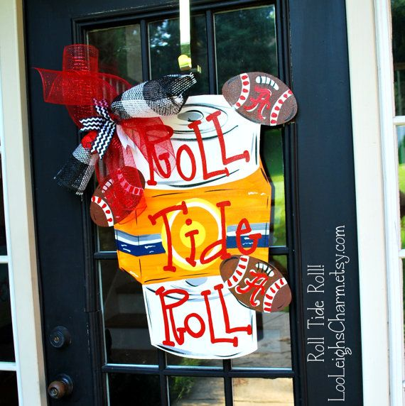 door hanger alabama football wooden football door. Black Bedroom Furniture Sets. Home Design Ideas