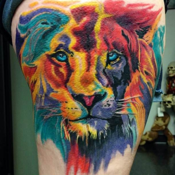 Tattoo Ideas Color 85: Colorful Lion Tattoo #Tattoo, #Tattooed, #Tattoos