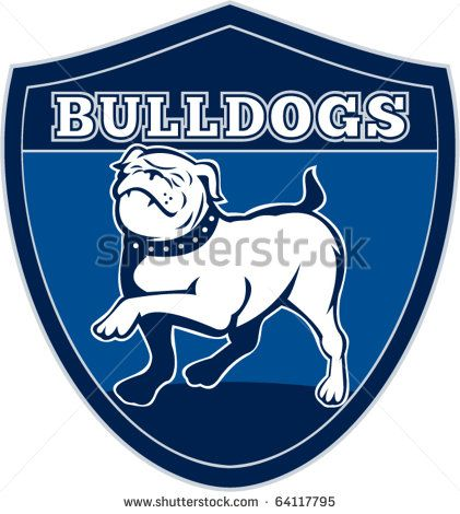 """vector illustration of a Proud English bulldog marching with words """"bulldogs"""" in background set inside a shield suitable for any sports team mascot - stock vector #bulldogs #retro #illustration"""