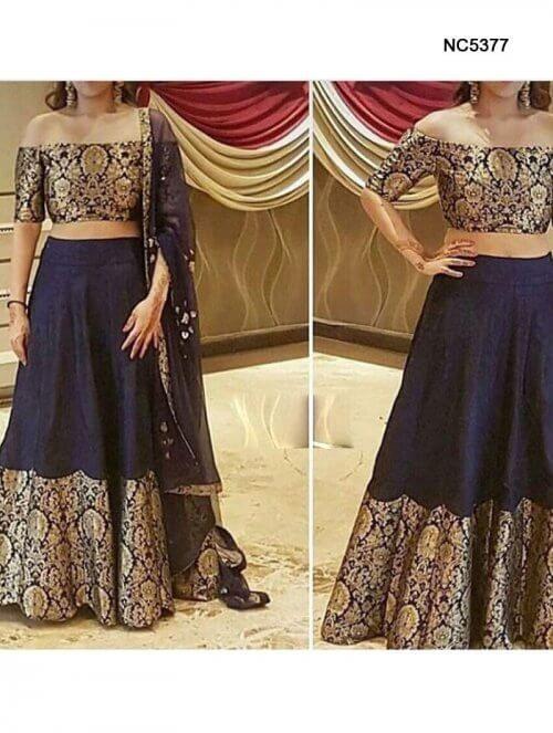 Dark Blue Raw Silk & Brocade Bollywood Lehenga Choli    ❤️ Call / WhatsApp / Viber : +91-9052526627   Free Shipping in India   COD*   Worldwide Shipping ❤️