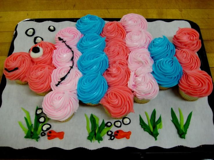 "Cupcake Cakes Designs | This clever cupcake ""fish"" cake was baked by our WalMart Bakery."