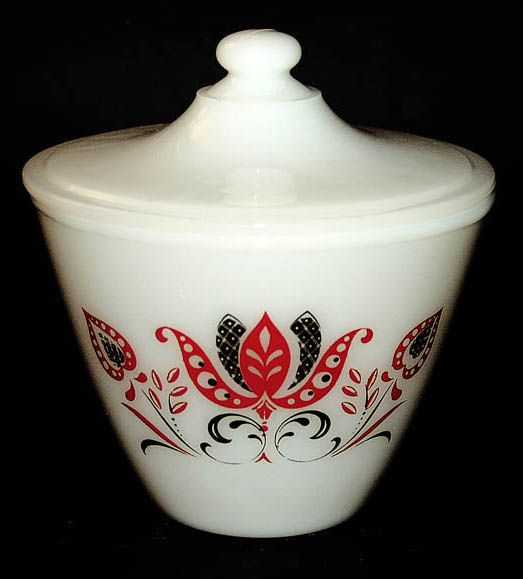 "Fireking ""Modern Tulip"" cookie jar - vintage Deco 50s design"