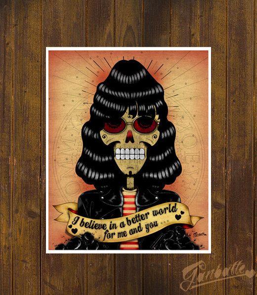 Joey ramone calaca skul fan art by ganbatte leisha dia de los muertos day of the dead
