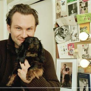 Christian Slater and dachshund