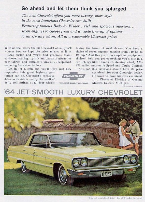 1964 Chevrolet Impala  My very first car, I bought it in 1971 for $500. Mine was the two tone, teal and white.. Miss it