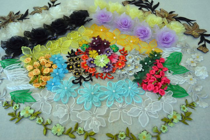 Applique Pack. Ap0010, over 80 peices, organza, ribbon and embroidered flowers by TheQuiltedCheese on Etsy