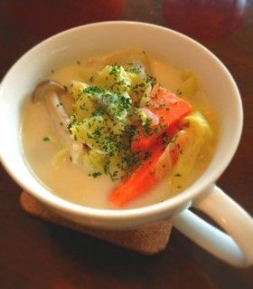簡単油なし ヘルシー豆乳野菜スープ
