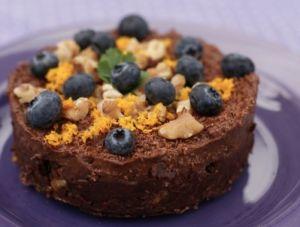Rå sjokoladekake.