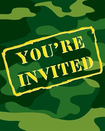Camo Invitations | Boy's Invitations | Boy's Birthday Party Supplies