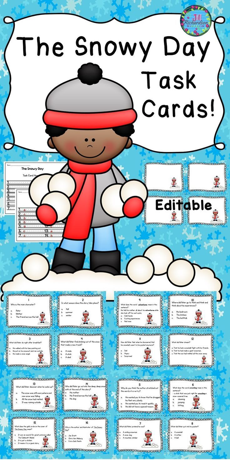 This comprehension task card activity is a great Literacy Center to use after the children have read The Snowy Day by Ezra Jack Keats.  The children can record their responses on the printable or in a reading response notebook. They may also enjoy playing Scoot! Included activities for The Snowy Day: 16 Comprehension Task Cards for The Snowy Day 1 Answer Sheet 1 Teacher's edition answer sheet 1 editable page to write your own questions for The Snowy Day!