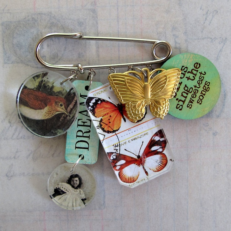 mixed media art bird | Mixed Media Art Pin Birds Sing the Sweetest Songs by RedLead