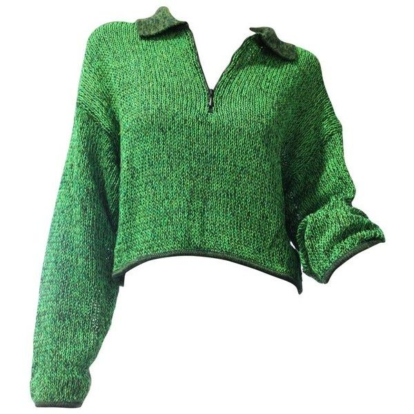 Preowned 1980s Jean Paul Gaultier Cropped Zip-front Sweater In Neon... ($375) ❤ liked on Polyvore featuring tops, sweaters, green, pullovers, polo sweater, sweater pullover, crop top, green crop top and zip front sweater