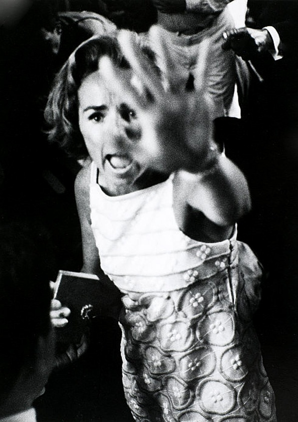 """Ethel Kennedy by Harry Benson (shouting """"Give him air"""" to the crowd after her husband had been shot)"""