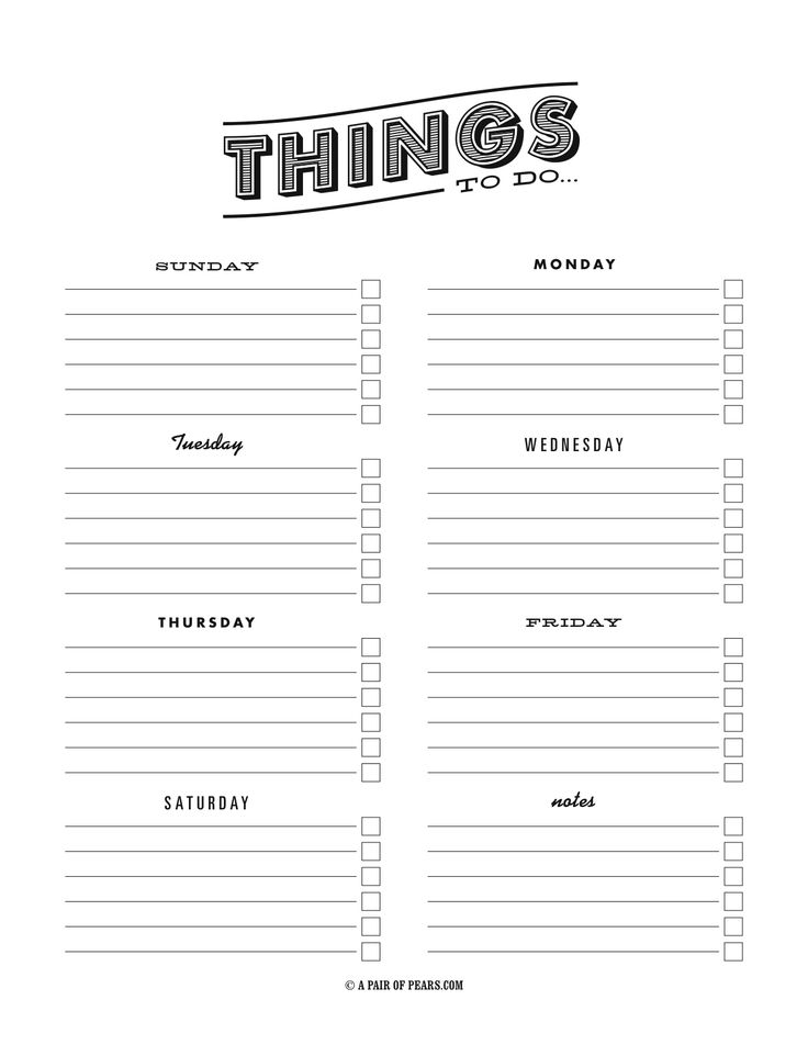 things to do template pdf