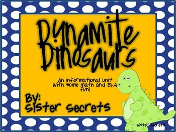 Your students will LOVE studying about dinosaurs and this unit will meet all of your needs!!  It includes many informational pieces such as vocabulary and dinosaur information!  We added in a little ELA and Math and your Dino-days will be complete!  Included in this Pack:  *Making Words *KWL *Vocabulary Cards *Dinosaur Cards *Dinosaur Informational Paragraph and Questions *Dinosaur Book: directions, cover page, writing pages *Living or Extinct Sort *Things I wish Were Extinct Bubble ...
