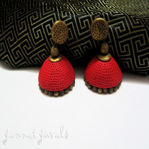 Red and Antique Gold Jhumka