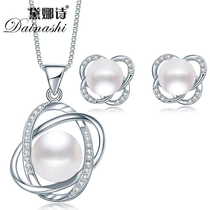 Top Quality Trendy Cross 925 Sterling Silver Jewelry Sets Pendant Necklace & Earring Big Pearl Pendant Earrings For Women Gift www.bernysjewels.com #bernysjewels #jewels #jewelry #nice #bags