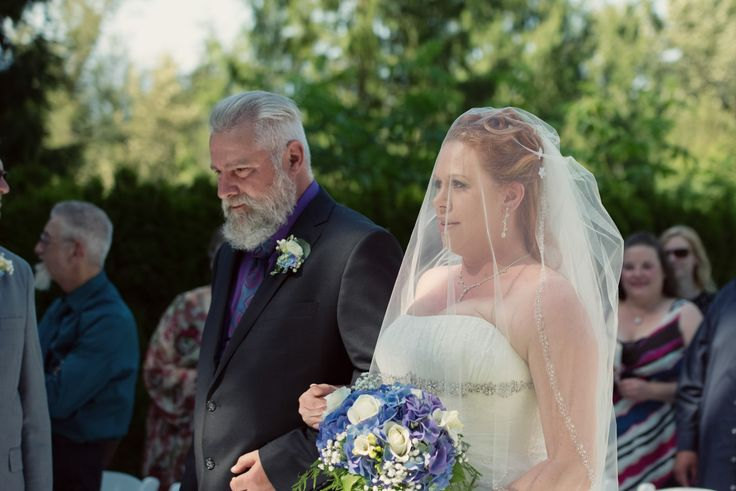 Three Leaf Photography | Abbotsford Chilliwack Langley Wedding Photographers - Bride and her father during the processional of wedding ceremony at The Falls Golf Course