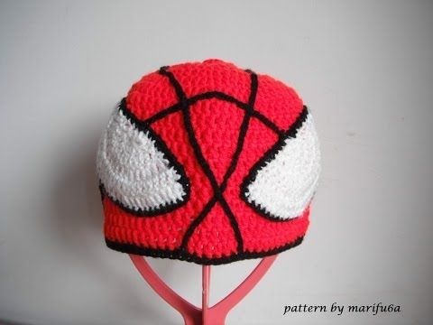▶ how to crochet spider man hat all sizes by marifu6a free pattern tutorial - YouTube