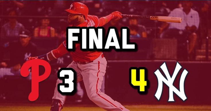 Phillies lose 4-3 to the Yankees with a walkoff homerun in the bottom of the 9th by Miguel Andujar. The Phillies had a 2-0 lead thought the 7th but the Yankees took the lead in the 8th but Scott Kingery hit a game tying homerun in the top of the 9th. Then the Yankees got the winner in the bottom of the 9th. Carlos Santana drove in one of our runs with a sac fly and Jorge Alfaro drove the other run in after getting hit by a pitch.  The next game is tommrow vs Detroit  #Phillies #Baseball #MLB