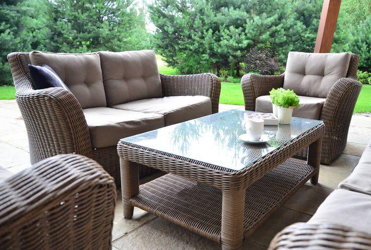 Meble ogrodowe z technorattanu Torino VIP zestaw wypoczynkowy sofa fotel stolik